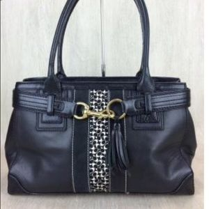 Coach Black Leather Signature Stripe Carryall